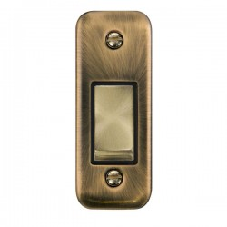 Click Deco Plus Antique Brass Single Architrave Switch Kit with Black Insert, Antique Brass Rocker and Back Box