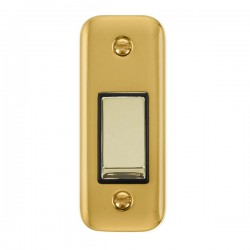 Click Deco Plus Polished Brass Single Architrave Switch Kit with Black Insert, Polished Brass Rocker and Back Box