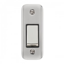 Click Deco Plus Polished Chrome Single Architrave Switch Kit with Black Insert, Polished Chrome Rocker and Back Box