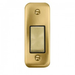 Click Deco Plus Satin Brass Single Architrave Switch Kit with Black Insert, Satin Brass Rocker and Back Box
