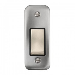 Click Deco Plus Satin Chrome Single Architrave Switch Kit with Black Insert, Satin Chrome Rocker and Back Box