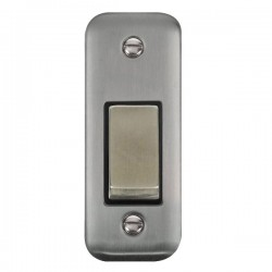 Click Deco Plus Stainless Steel Single Architrave Switch Kit with Black Insert, Stainless Steel Rocker and Back Box