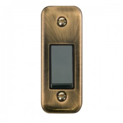 Click Deco Plus Antique Brass Single Architrave Switch Kit with Black Insert, Black Rocker and Back Box