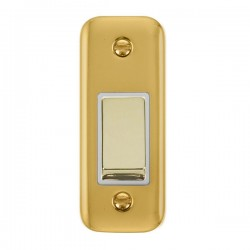 Click Deco Plus Polished Brass Single Architrave Switch Kit with White Insert, Polished Brass Rocker and Back Box