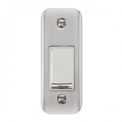 Click Deco Plus Polished Chrome Single Architrave Switch Kit with White Insert, Polished Chrome Rocker and Back Box