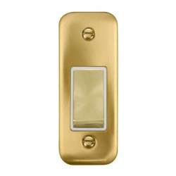 Click Deco Plus Satin Brass Single Architrave Switch Kit with White Insert, Satin Brass Rocker and Back Box