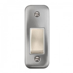 Click Deco Plus Satin Chrome Single Architrave Switch Kit with White Insert, Satin Chrome Rocker and Back Box