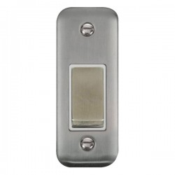 Click Deco Plus Stainless Steel Single Architrave Switch Kit with White Insert, Stainless Steel Rocker and Back Box