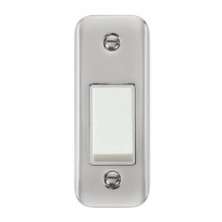 Click Deco Plus Polished Chrome Single Architrave Switch Kit with White Insert, White Rocker and Back Box