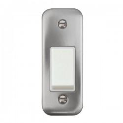 Click Deco Plus Satin Chrome Single Architrave Switch Kit with White Insert, White Rocker and Back Box