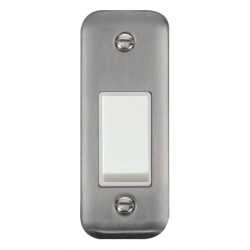 Click Deco Plus Stainless Steel Single Architrave Switch Kit with White Insert, White Rocker and Back Box