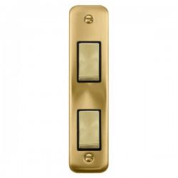 Click Deco Plus Satin Brass Double Architrave Switch Kit with Black Insert, Satin Brass Rocker and Back Box