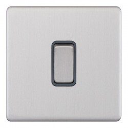 Selectric 5M-Plus Screwless Satin Chrome 1 Gang 10A 2 Way Switch with Grey Insert