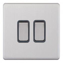Selectric 5M-Plus Screwless Satin Chrome 2 Gang 10A 2 Way Switch with Grey Insert