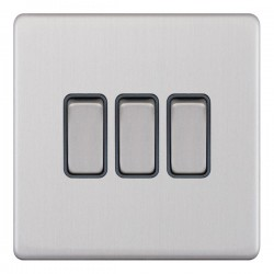 Selectric 5M-Plus Screwless Satin Chrome 3 Gang 10A 2 Way Switch with Grey Insert