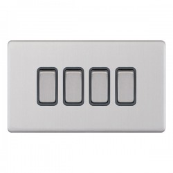 Selectric 5M-Plus Screwless Satin Chrome 4 Gang 10A 2 Way Switch with Grey Insert