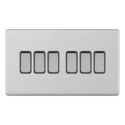 Selectric 5M-Plus Screwless Satin Chrome 6 Gang 10A 2 Way Switch with Grey Insert