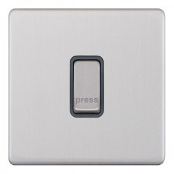 Selectric 5M-Plus Screwless Satin Chrome 1 Gang 10A Push to Make Switch with Grey Insert