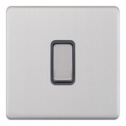Selectric 5M-Plus Screwless Satin Chrome 1 Gang 10A Intermediate Switch with Grey Insert