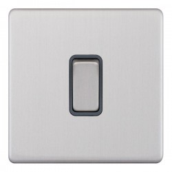 Selectric 5M-Plus Screwless Satin Chrome 1 Gang 20A DP Switch with Grey Insert