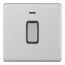 Selectric 5M-Plus Screwless Satin Chrome 1 Gang 20A DP Switch with Neon and Grey Insert