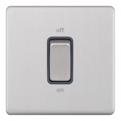 Selectric 5M-Plus Screwless Satin Chrome 1 Gang 45A DP Switch with Grey Insert