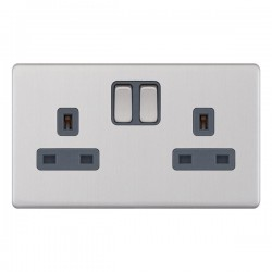 Selectric 5M-Plus Screwless Satin Chrome 2 Gang 13A Switched Socket with Grey Insert