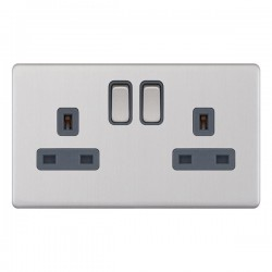 Selectric 5M-Plus Screwless Satin Chrome 2 Gang 13A DP Switched Socket with Grey Insert