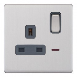 Selectric 5M-Plus Screwless Satin Chrome 1 Gang 13A DP Switched Socket with Neon and Grey Insert