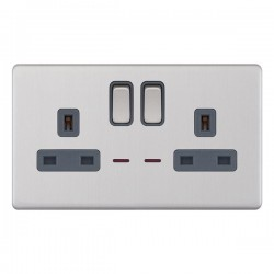 Selectric 5M-Plus Screwless Satin Chrome 2 Gang 13A DP Switched Socket with Neon and Grey Insert