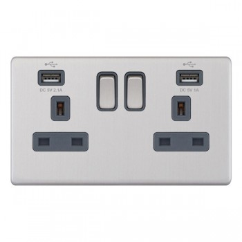 Selectric 5M-Plus Screwless Satin Chrome 2 Gang 13A Switched Socket with USB Outlet and Grey Insert