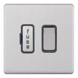 Selectric 5M-Plus Screwless Satin Chrome 13A DP Switched Fused Connection Unit with Grey Insert