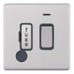 Selectric 5M-Plus Screwless Satin Chrome 13A DP Switched Fused Connection Unit with Flex Outlet, Neon, and Grey Insert