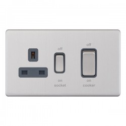 Selectric 5M-Plus Screwless Satin Chrome 45A DP Switch and 13A Switched Socket with Grey Insert