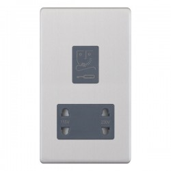 Selectric 5M-Plus Screwless Satin Chrome 115/230V Dual Voltage Shaver Socket with Grey Insert