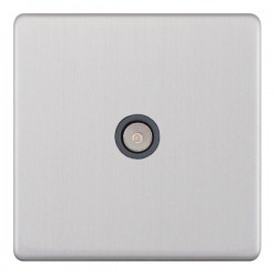 Selectric 5M-Plus Screwless Satin Chrome 1 Gang TV Socket with Grey Insert