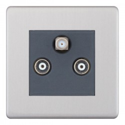 Selectric 5M-Plus Screwless Satin Chrome Triplex Sat/TV/FM Socket with Grey Insert