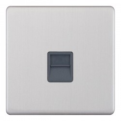 Selectric 5M-Plus Screwless Satin Chrome 1 Gang Telephone Secondary Socket with Grey Insert