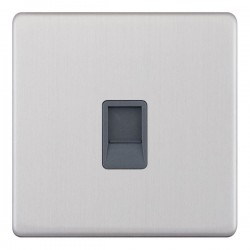Selectric 5M-Plus Screwless Satin Chrome 1 Gang RJ45 Data Socket with Grey Insert