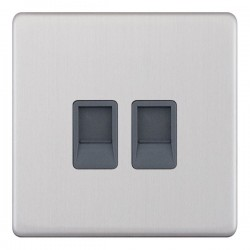 Selectric 5M-Plus Screwless Satin Chrome 2 Gang RJ45 Data Socket with Grey Insert