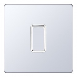 Selectric 5M-Plus Screwless Polished Chrome 1 Gang 10A 2 Way Switch with White Insert