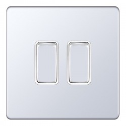 Selectric 5M-Plus Screwless Polished Chrome 2 Gang 10A 2 Way Switch with White Insert