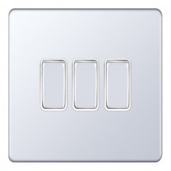 Selectric 5M-Plus Screwless Polished Chrome 3 Gang 10A 2 Way Switch with White Insert