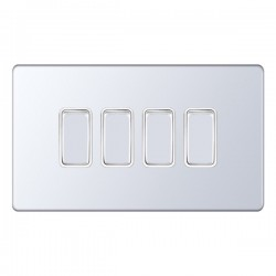 Selectric 5M-Plus Screwless Polished Chrome 4 Gang 10A 2 Way Switch with White Insert