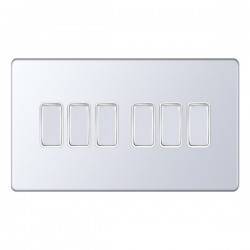 Selectric 5M-Plus Screwless Polished Chrome 6 Gang 10A 2 Way Switch with White Insert