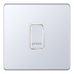 Selectric 5M-Plus Screwless Polished Chrome 1 Gang 10A Push to Make Switch with White Insert