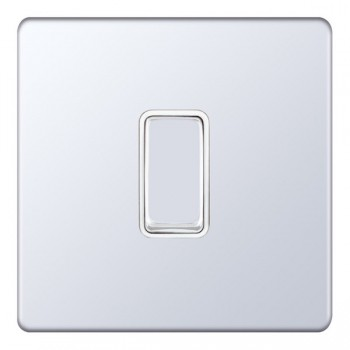 Selectric 5M-Plus Screwless Polished Chrome 1 Gang 10A Intermediate Switch with White Insert