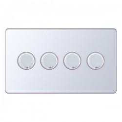 Selectric 5M-Plus Screwless Polished Chrome 4 Gang 400W 2 Way Dimmer Switch