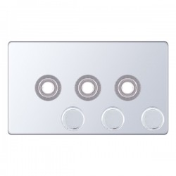 Selectric 5M-Plus Screwless Polished Chrome 2 Gang Triple Aperture Dimmer Plate with Matching Knobs