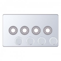 Selectric 5M-Plus Screwless Polished Chrome 2 Gang Quad Aperture Dimmer Plate with Matching Knobs